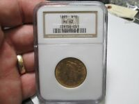 1893 10 DOLLAR LIBERTY GOLD COIN IN NGC MS62 UNCIRCULATED CONDITION