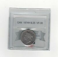 1874H   COIN MART GRADED CANADIAN 25 CENT   VF 30