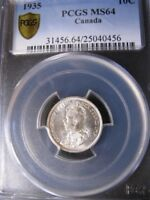 1935   PCGS GRADED CANADIAN TEN CENT   MS 64