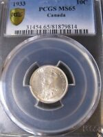 1933   PCGS GRADED CANADIAN TEN CENT   MS 65