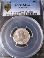 1910   PCGS GRADED CANADIAN TEN CENT   MS 64