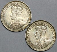 1918 CANADA SILVER 25 CENTS LOT TWO COINS  17032808R