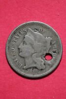 LOW GRADE 1868 THREE 3 CENT LIBERTY NICKEL EXACT COIN FLAT RATE SHIPPING OCE 327