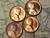 1954,55,56,57- @  4-LINCOLN WHEAT CENTS FROM UNC ROLLS