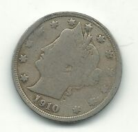 GOOD/FINE DETAILS 1910 P LIBERTY HEAD V NICKEL COIN-OLD US COIN-DEC604