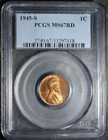 1945-S PCGS MINT STATE 67 RD LINCOLN CENT  COPPER SUPERB GEM WHEAT CENT18 SHIPS FREE
