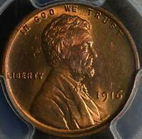 1916 PCGS MINT STATE 65 RB LINCOLN CENT  GEM WHEAT CENT SHIPS FREE MOSTLY RED