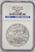 2008 AMERICAN SILVER EAGLE $1 NGC MINT STATE 69 EARLY RELEASES 3203836-038