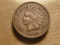 1908-S INDIAN HEAD CENT PENNY, VF-EXTRA FINE  CONDITIONSKU12233
