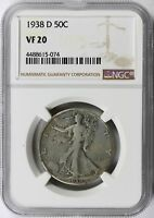 1938-D 50C WALKING LIBERTY HALF DOLLAR NGC VF20