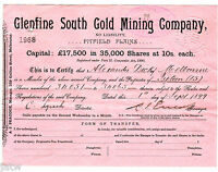SHARE SCRIP   MINING. 1899 GLENFINE SOUTH GOLD MINING CO   PITFIELD PLAINS VIC