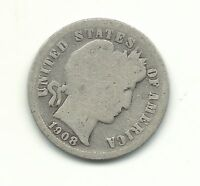 A VINTAGE GOOD CONDITION 1908 S BARBER SILVER DIME COIN-OLD US COIN-MAR451