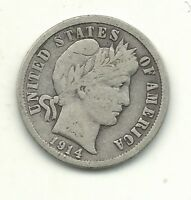 VINTAGE FINE CONDITION 1914 D BARBER SILVER DIME COIN-OLD US COIN-MAR459