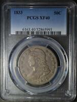 1833 PCGS EXTRA FINE 40 CAPPED BUST HALF DOLLAR 50C EF40  90 SILVER COIN SHIPS FREE