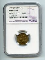 1909-S INDIAN HEAD 1C PENNY - NGC SLAB - EXTRA FINE  DETAILS - KEY DATE - /AUTHENTIC