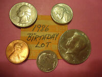 1986 BIRTHDAY LOT: HALF QUARTER NICKEL DIME PENNY          COMBINED SHIPPING