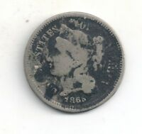 1865 THREE   3   CENT NICKEL ONE COIN