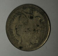 G1   1866 THREE CENT LIBERTY NICKEL IN CULL CONDITION