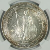 1899 B GREAT BRITAIN $1TRADE DOLLAR SILVER COIN UNC DETAILS