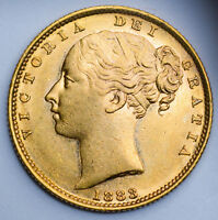 CHOICE & LUSTROUS 1883 S QUEEN VICTORIA GOLD SHIELD SOVEREIG