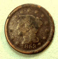 1853 LARGE CENT EARLY DATE  AA