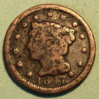 1847 LARGE CENT VG DETAIL EARLY DATE
