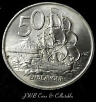 1967 NEW ZEALAND 50 CENTS COIN   ENDEAVOUR