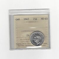 1945   ICCS GRADED CANADIAN 25 CENT   MS 65