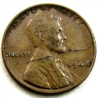 MINT ERROR 1948 LINCOLN WHEAT CENT - LAMINATION WITH PEEL ACROSS OBVERSE