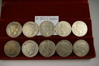 10 1923-S MINT>  OLD PEACE SILVER DOLLARS.