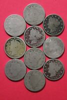 LOT OF 10 ASSORTED LIBERTY NICKELS EXACT COINS SHOWN FLAT RATE SHIPPING OCE1030