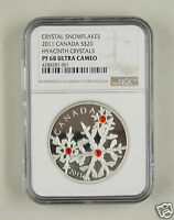 CANADA SILVER COIN 20 DOLLARS 2011, RED CRYSTAL SNOWFLAKE, NGC PF 68 ULTRA CAMEO
