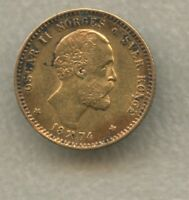 1874 NORWAY 10 KRONER  2 1/2 SP  .900 GOLD KM347     LOW MIN