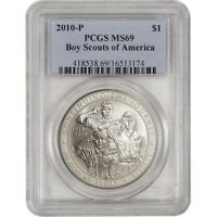 2010 P US BOY SCOUTS OF AMERICA COMMEMORATIVE BU SILVER DOLLAR   PCGS MS69