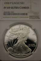 1998 P PF69 ULTRA CAMEO PROOF SILVER EAGLE EXACT COIN FLAT RATE SHIPPING OCE965