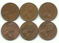 VERY NICELY LOT 6 NEW ZEALAND TWO CENTS 1967 1969 1974 1981 1982 1983 FEB997
