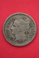 1868 THREE 3 CENT LIBERTY NICKEL EXACT COIN PICTURED FLAT RATE SHIPPING OCE0161