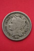 1865 THREE 3 CENT LIBERTY NICKEL EXACT COIN PICTURED FLAT RATE SHIPPING OCE0199