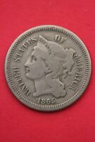 1865 THREE 3 CENT LIBERTY NICKEL EXACT COIN PICTURED FLAT RATE SHIPPING OCE0253