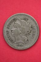 1867 THREE 3 CENT LIBERTY NICKEL EXACT COIN PICTURED FLAT RATE SHIPPING OCE026