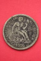 1876 P SEATED LIBERTY DIME EXACT COIN PICTURED FLAT RATE SHIPPING OCE217