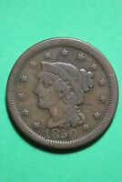 1850 BRAIDED HAIR LARGE CENT EXACT COIN PICTURED FLAT RATE SHIPPING OCE 325
