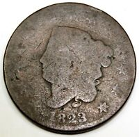 1823 UNITED STATES ONE LARGE CORONET HEAD CENT / PENNY - AG ABOUT GOOD CONDITION
