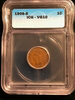 1908-S INDIAN CENT SEMI-KEY DATE ICG GRADED VG10