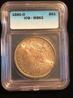 1880-O US MORGAN SILVER S$1 DOLLAR COIN ICG MINT STATE 63 TONED NEW ORLEANS PATINA