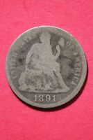 LOW GRADE 1891 P SEATED LIBERTY DIME EXACT COIN SHOWN FLAT RATE SHIPPING OCE 356