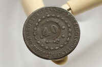 BRAZIL 40 REIS COUNTERSTAMPED 1829 R LOVELY DETAILS A98 R6640