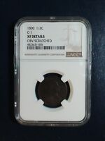 1800 DRAPED BUST HALF CENT NGC EXTRA FINE  1/2C PENNY COIN PRICED TO SELL NOW
