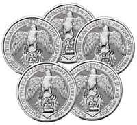 5  2019 QUEEN'S BEAST 2 OZ SILVER FALCON OF THE PLANTAGENET
