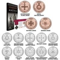 5X 2017 AUSTRALIAN LEGENDS OF ANZAC 14 COIN 20C AND 25C COMP
